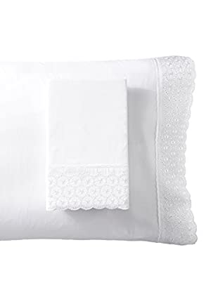 Westport Linens Set of 2 Kate Embroidered Standard Pillowcases, White