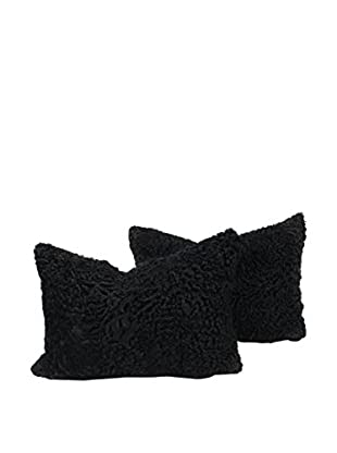 Set of 2 Black Persian Lamb Pillows, 14