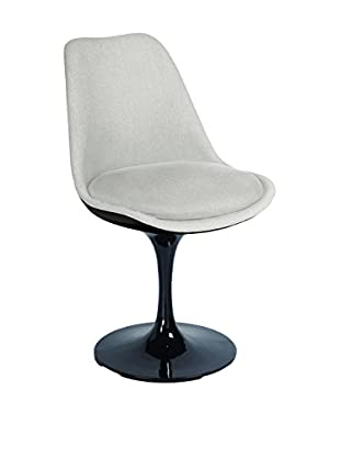 Macer Home Tulip Side Chair Upholstered, Black/Beige