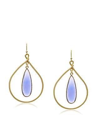 Ashiana London Blue Chalcedony Framed Drop Earrings