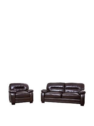 Abbyson Living Brenteena Top Grain Leather Sofa And Chair, Dark Truffle