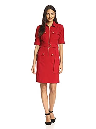 Sharagano Women's Belted Dress with Pockets