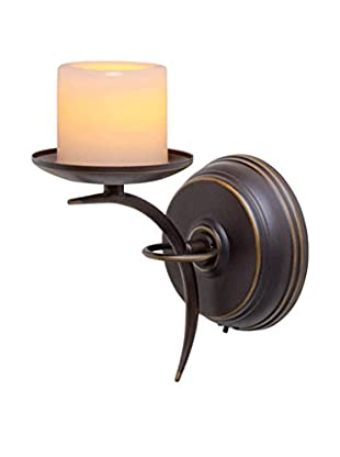 Candle Impressions Flameless Candle Single-Arm Sconce with Wax Pillar, Bronze