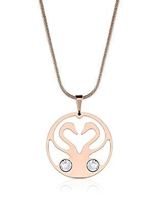 Annie Ram Collar 2 Swans 2 Chatons Metal Rosado
