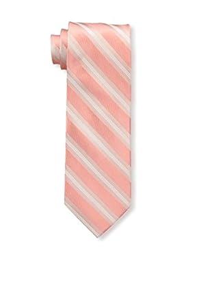 Bruno Piattelli Men's Stripe Silk Tie, Coral
