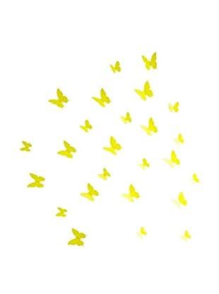 Ambiance Live Wandtattoo 12 tlg. Set 3D Butterflies gelb