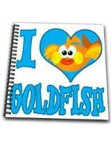 3dRose db1021381 I Heart Love Goldfish Cartoon-Drawing Book, 8 by 8-Inch