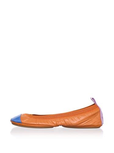 Yosi Samra Women's Colorblock Ballet Flat (Orange/Violet/Blue)