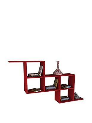 Dekorister Bücherregal Zeta rot 22x147,2x82,2cm