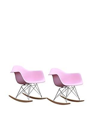 Manhattan Living Set of 2 Rocker Arm Chairs, Pink