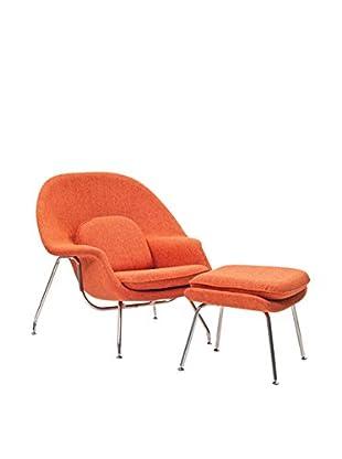 Modway W Lounge Chair (Orange Tweed)