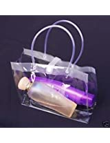 30 pieces 9X3x7 clear PVC soft pouch bag with round tube handle beauty make up cosmetic packing supply