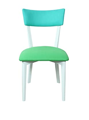 Armless Dining Chair, Green/ White/ Blue