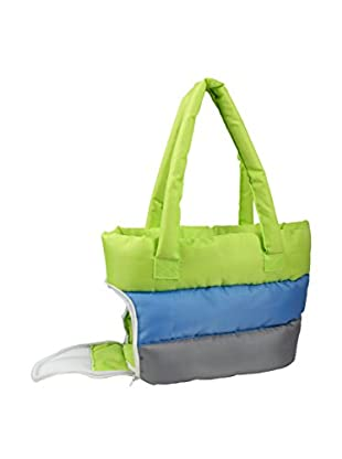 Pet Life Bubble-Poly Tri-Colored Insulated Pet Carrier, Green/Blue/Grey, Medium