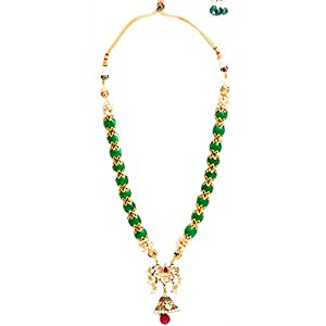 Daamak Jewellery Green Beads Kundan Necklace With Pearls