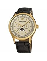 Akribos Champagne Dial Black Leather Mens Watch Ak638Yg