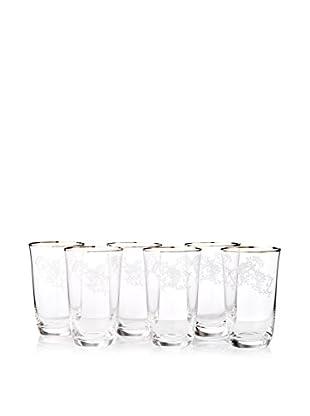 A Casa K Ricci Set of 6 Engraved Crystal & Platinum 10-Oz. Highball Glasses