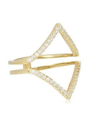 Jardin Gold Plated Pave Cz Open Triangles Ring