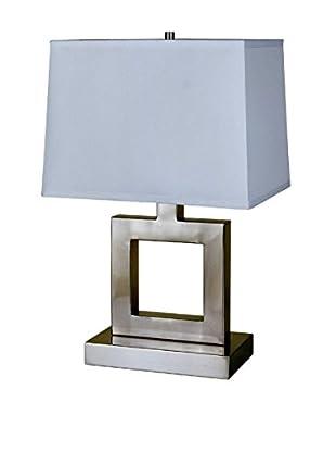 ORE International Square Table Lamp, Satin Nickel