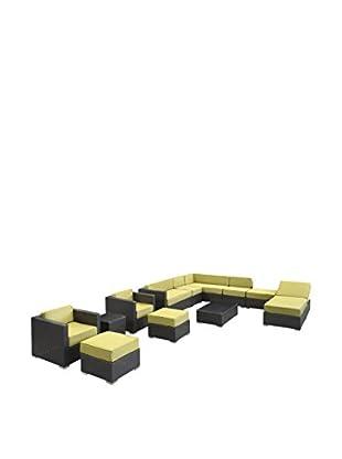 Modway Fusion 12-Piece Outdoor Patio Sectional Set (Espresso/Peridot)