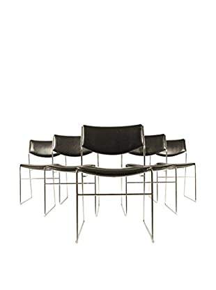 Set of 5 Mid-Century Modern Black Chairs, Black/Silver