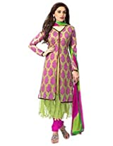 Semi Stitched Light Green And Pink New Designer Jacket Styke Anarkali Suits