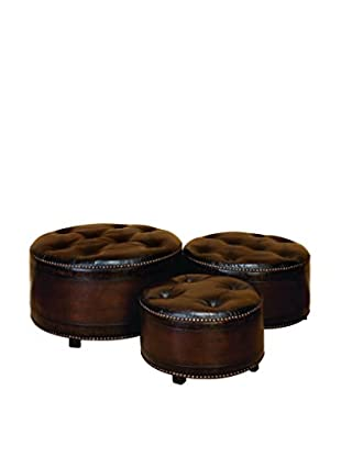 Wood & Leather 3-Piece Ottoman Set, Brown