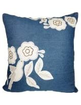 Decorative Floral and Bird Applique Throw Pillow Cover 18 Blue
