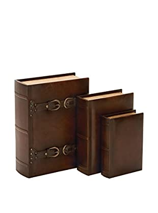 Set of 3 Faux Leather Buckle Book Boxes, Brown