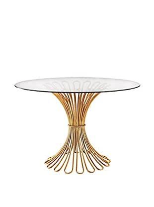 Artistic Flared Luxe Rope Entry Table, Gold Leaf/Clear
