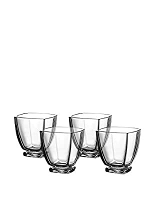 Fitz and Floyd Set of 4 Gemini Crystal Double Old Fashion Glasses