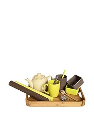 Enjoy Home  Frühstückservice 12 tlg. Set Bio braun/hellgrün/grau
