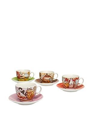 Tognana Kaffeetasse mit Untertasse 4er Set Iris Breakfast