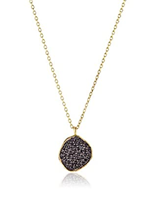Tai 18K Gold-Plated Black CZ Disc Necklace