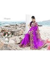 Beige pink chiffon wedding wear emblished sari