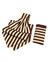 Chocolate With Cream Candy Strip Cravats With Pocket Square