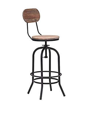 Zuo Modern Twin Peaks Industrial Bar Chair, Distressed Natural