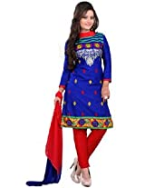 7 Colors Lifestyle Blue Coloured Cotton Unstitched Churidar Material - ACTDR2203KI12