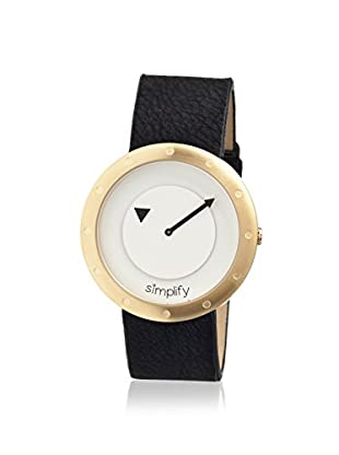 Simplify Women's 2203 The 2200 Black & White Leather Watch
