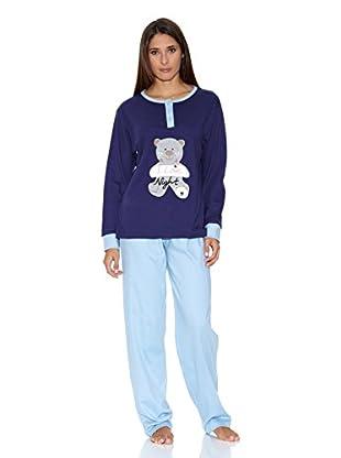 Muslher Pijama Sra Con Tapeta Bordado Osito (Morado)