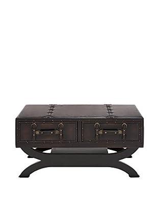 UMA Wood & Faux Leather Coffee Table, Black