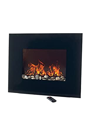 Northwest Glass Panel Electric Fireplace with Wall Mount & Remote, Black