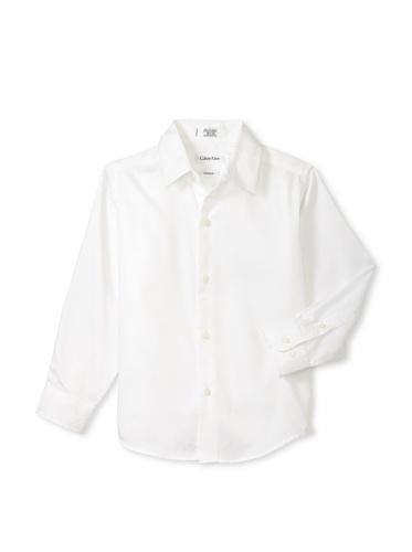 Calvin Klein Boy's 8-20 Sateen Hanging Dress Shirt (White)