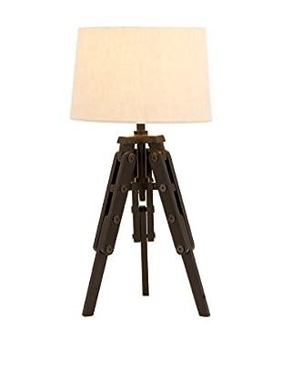 Old World Wood 1-Light Tripod Lamp, Cream/Rust