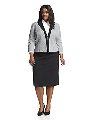 Tahari by ASL Plus Women's Mini Houndstooth Skirt Suit