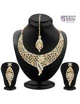 Sukkhi Sleek Gold plated AD Stone Necklace Set (2103NADM2150)