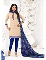 Saara Off-White And Blue Embroidered Dress Material - 148D6015