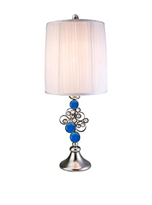 ORE International Just Dazzle 1-Light Buffet Table Lamp, Blue/Silver