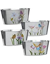 "Garden Planters 8-7/8x4x4"" Oval Shaped Floral Galvanized Metal Potting Pots Set of 4. Ideal for Home, Nurseries, Garden centers, Cottage, or Cabin. Add Elegance With These Decorative Indoor or Outdoor Flower,Herbs,Plant Holders."