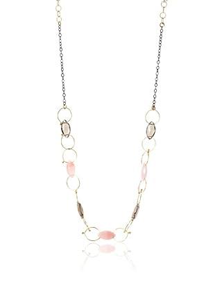 Misha Pink Opal & Smoky Quartz Two-Tone Circles Necklace